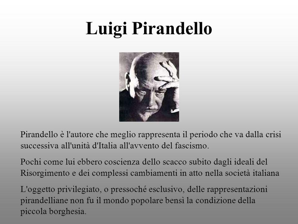 Luigi Pirandello Pirandello è l autore che meglio rappresenta il periodo che va dalla crisi successiva all unità d Italia all avvento del fascismo.