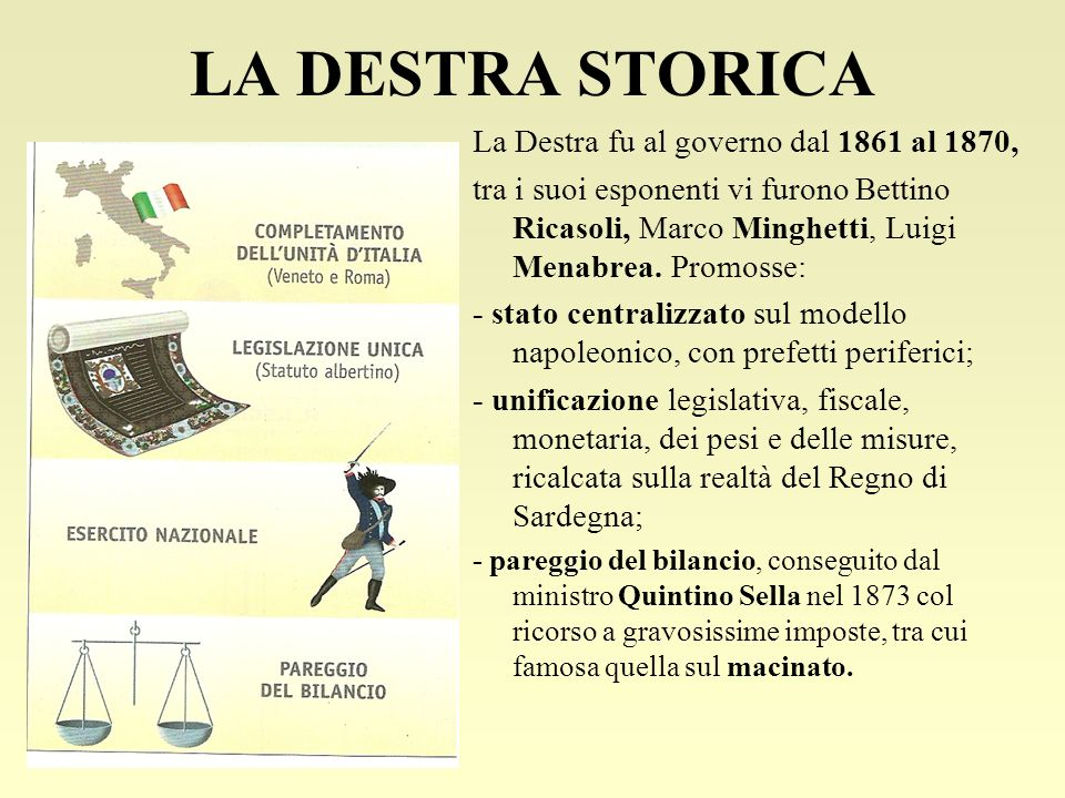 LA DESTRA STORICA La Destra fu al governo dal 1861 al 1870,