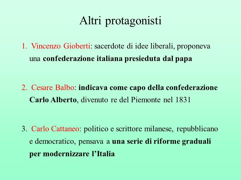 Altri protagonisti Vincenzo Gioberti: sacerdote di idee liberali, proponeva una confederazione italiana presieduta dal papa.