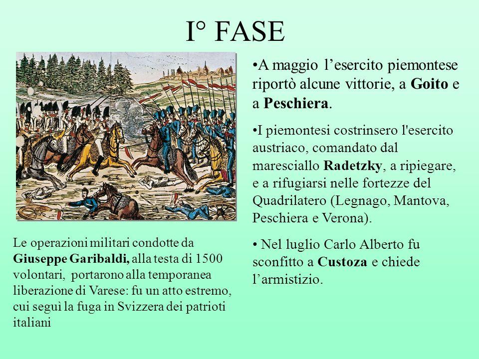 I° FASE A maggio l'esercito piemontese riportò alcune vittorie, a Goito e a Peschiera.