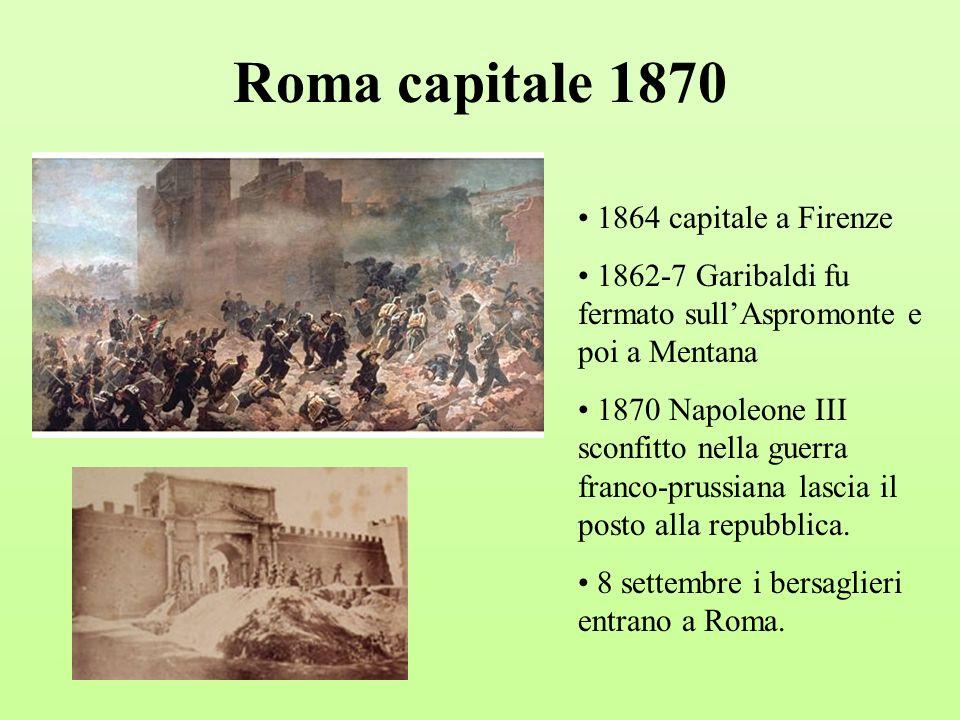 Roma capitale 1870 1864 capitale a Firenze