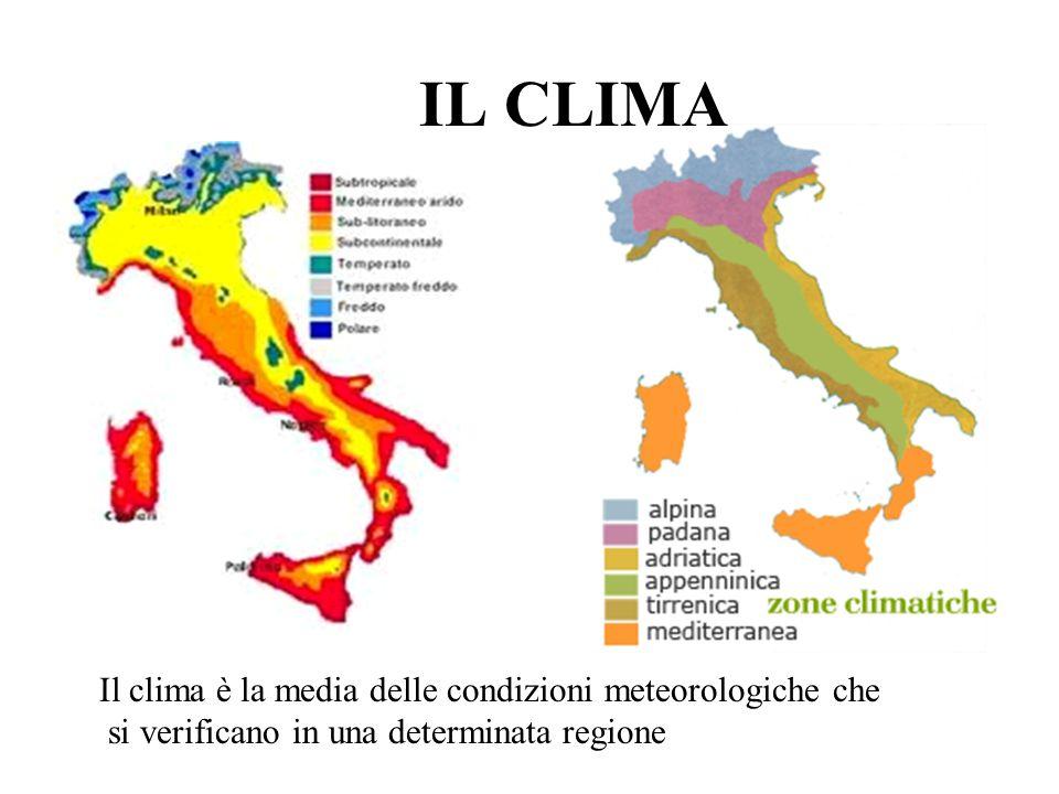 IL CLIMA Il clima è la media delle condizioni meteorologiche che