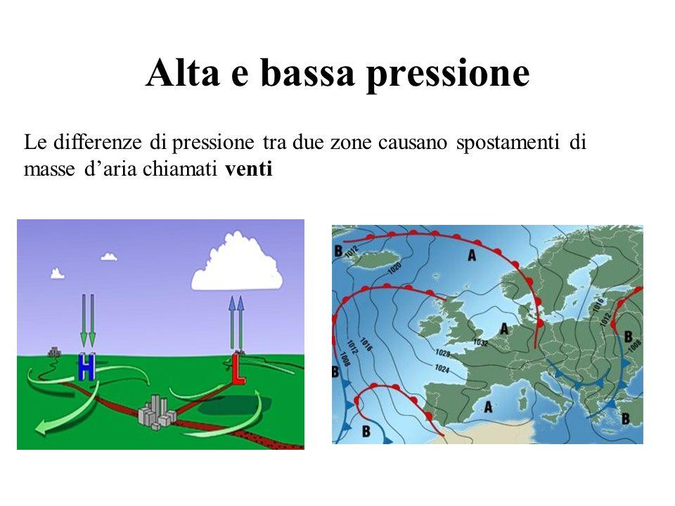 Alta e bassa pressione Le differenze di pressione tra due zone causano spostamenti di masse d'aria chiamati venti.