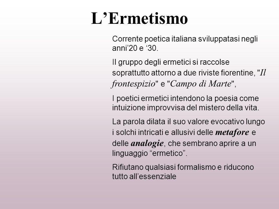 L'Ermetismo Corrente poetica italiana sviluppatasi negli anni'20 e '30.
