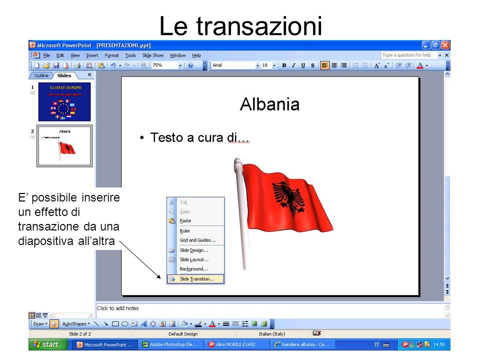 Le transazioni E' possibile inserire un effetto di transazione da una diapositiva all'altra