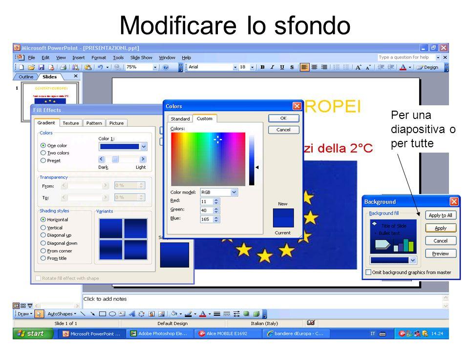 Modificare lo sfondo Per una diapositiva o per tutte