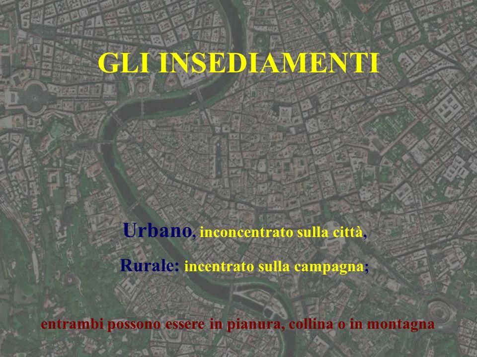 Urbano, inconcentrato sulla città, Rurale: incentrato sulla campagna;