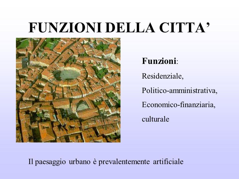 FUNZIONI DELLA CITTA' Funzioni: Residenziale, Politico-amministrativa,