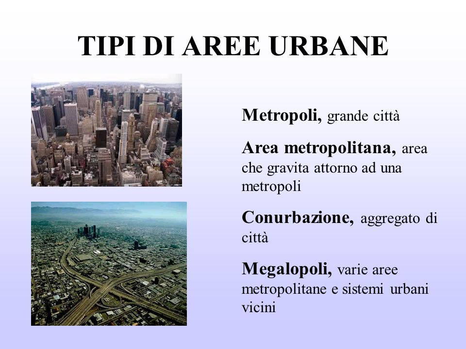 TIPI DI AREE URBANE Metropoli, grande città