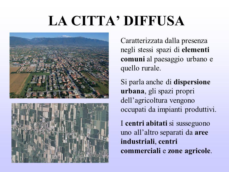 LA CITTA' DIFFUSA Caratterizzata dalla presenza negli stessi spazi di elementi comuni al paesaggio urbano e quello rurale.