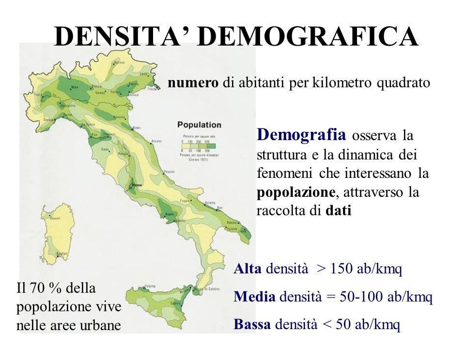 DENSITA' DEMOGRAFICA numero di abitanti per kilometro quadrato.