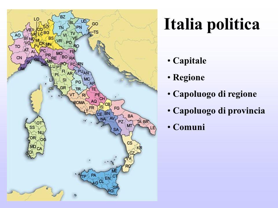 Italia politica Capitale Regione Capoluogo di regione
