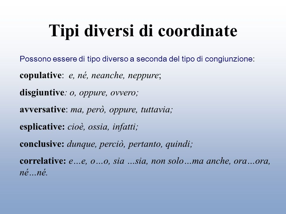 Tipi diversi di coordinate