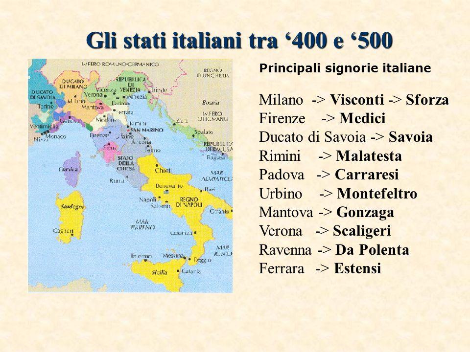 Gli stati italiani tra '400 e '500