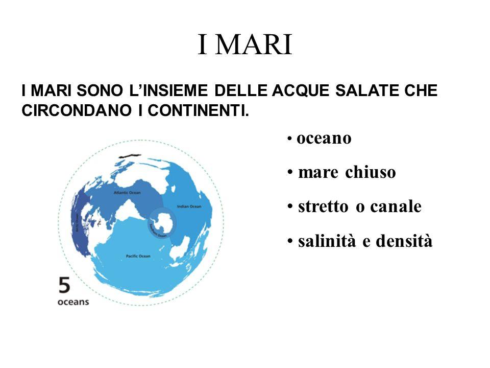 I MARI mare chiuso stretto o canale salinità e densità
