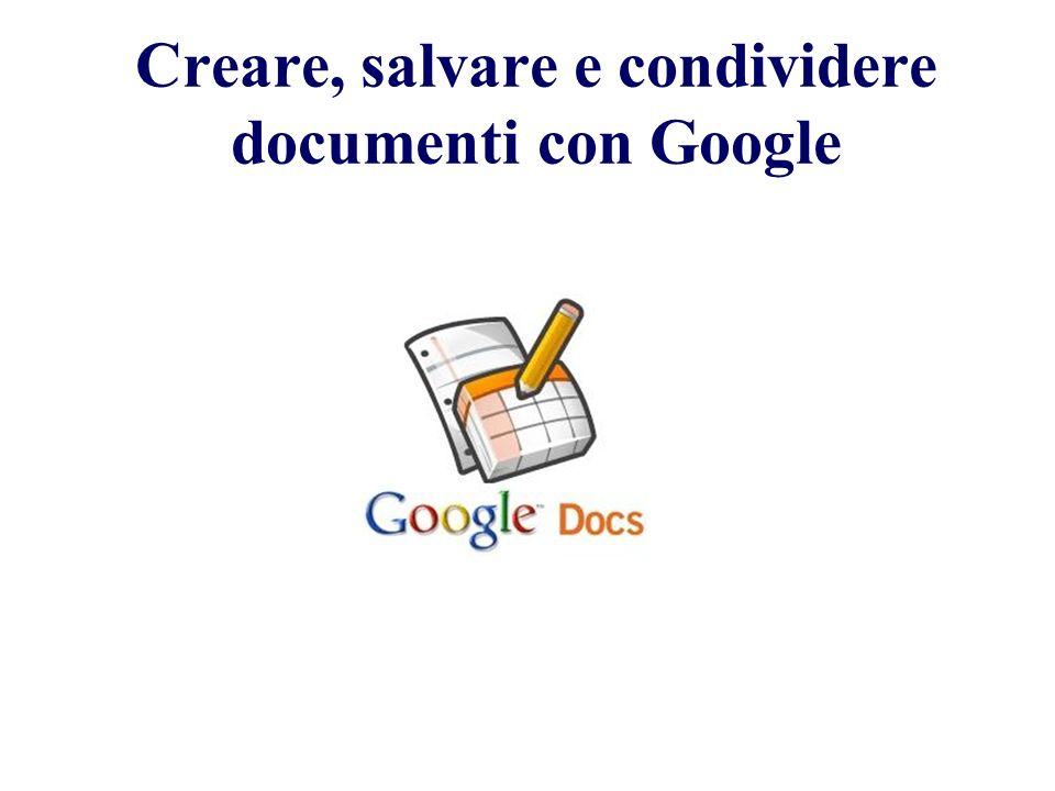 Creare, salvare e condividere documenti con Google