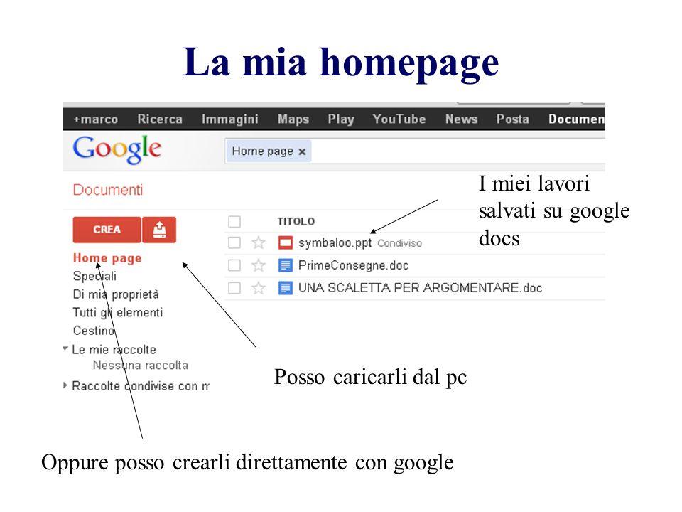 La mia homepage I miei lavori salvati su google docs