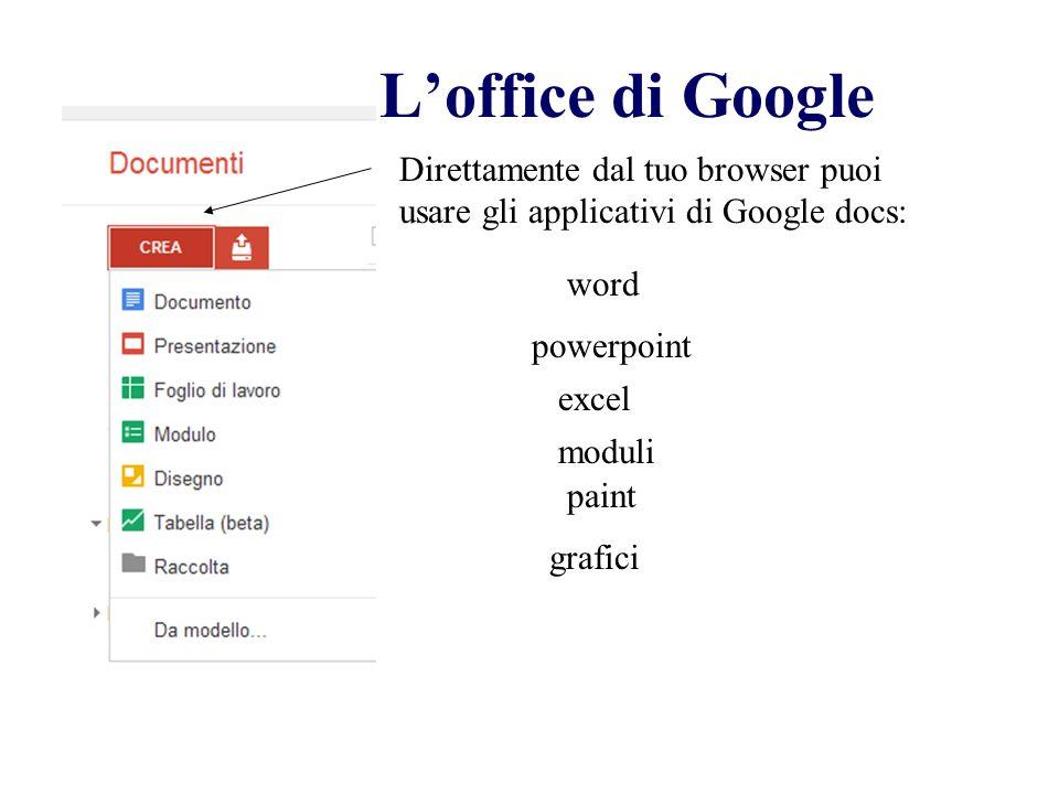 L'office di Google Direttamente dal tuo browser puoi usare gli applicativi di Google docs: word. powerpoint.