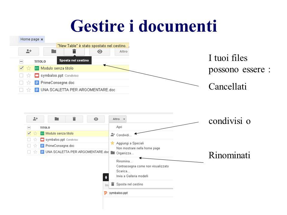 Gestire i documenti I tuoi files possono essere : Cancellati