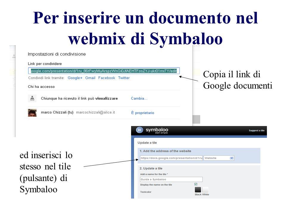 Per inserire un documento nel webmix di Symbaloo