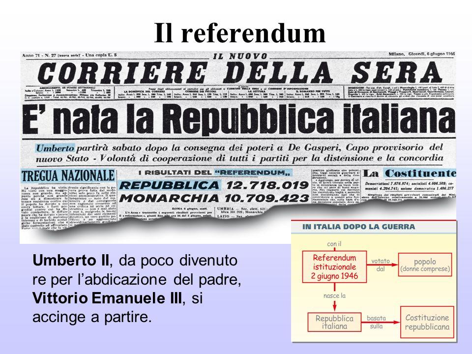 Il referendum Umberto II, da poco divenuto re per l'abdicazione del padre, Vittorio Emanuele III, si accinge a partire.