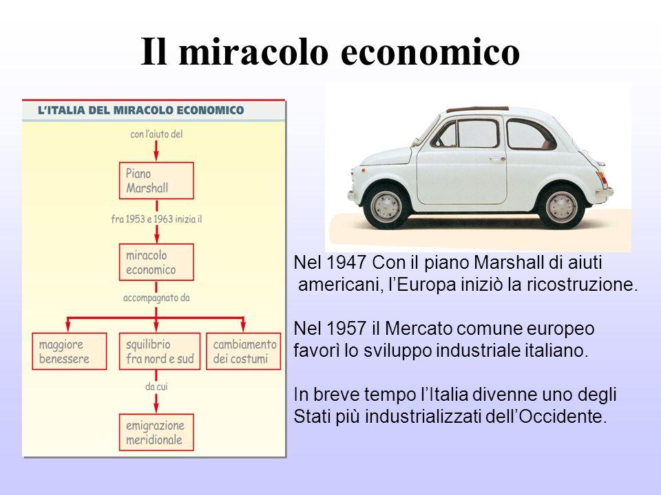 Il miracolo economico Nel 1947 Con il piano Marshall di aiuti