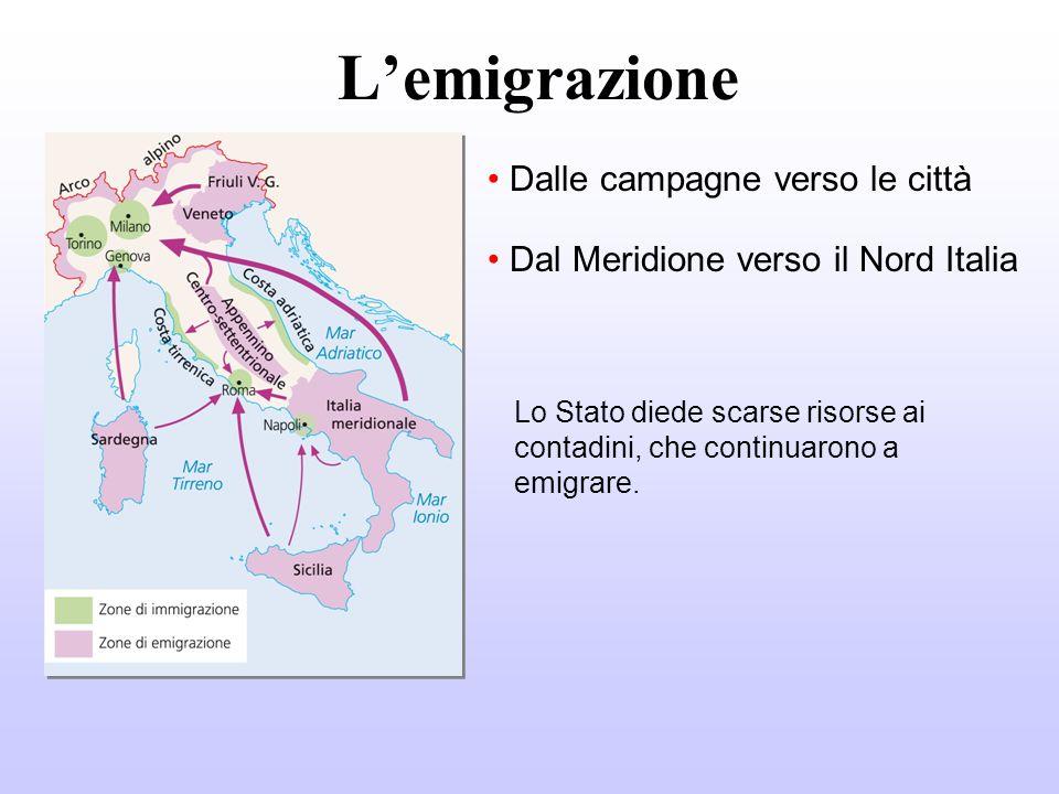 L'emigrazione Dalle campagne verso le città