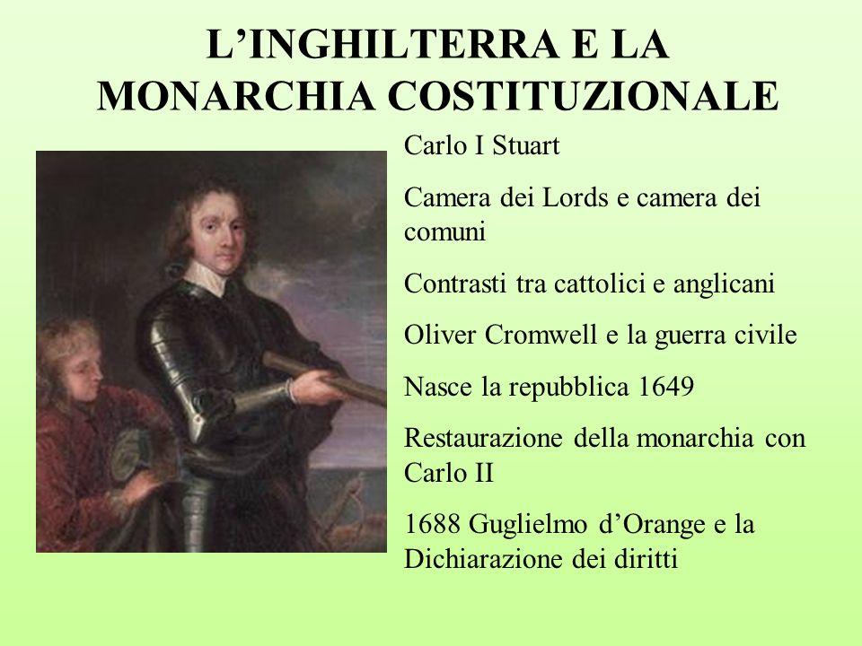 L'INGHILTERRA E LA MONARCHIA COSTITUZIONALE