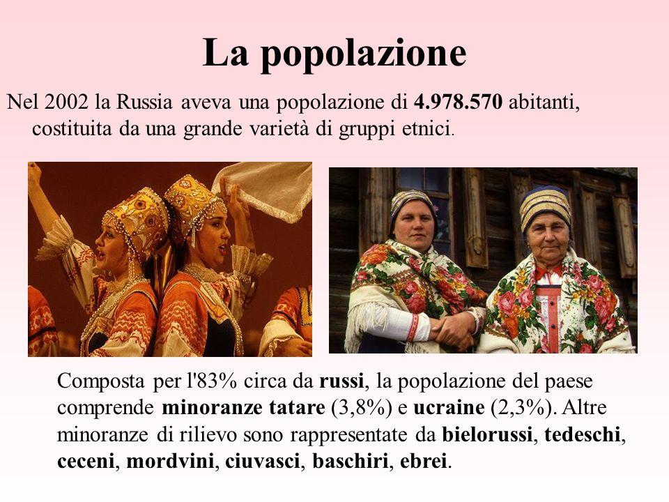 La popolazione Nel 2002 la Russia aveva una popolazione di 4.978.570 abitanti, costituita da una grande varietà di gruppi etnici.