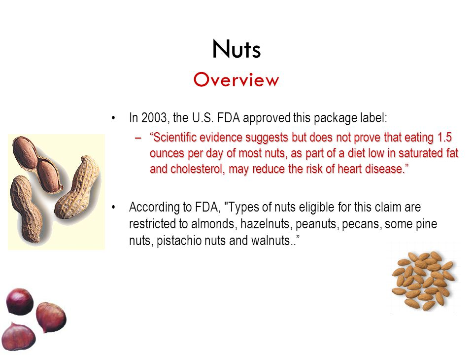 Nuts Overview In 2003, the U.S. FDA approved this package label: