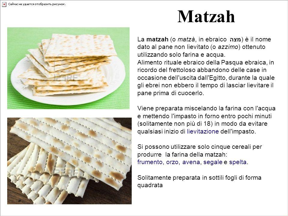 Matzah La matzah (o matzà, in ebraico מצה) è il nome dato al pane non lievitato (o azzimo) ottenuto utilizzando solo farina e acqua.