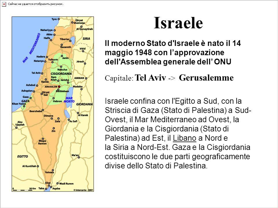 Israele Il moderno Stato d Israele è nato il 14 maggio 1948 con l'approvazione dell Assemblea generale dell' ONU.