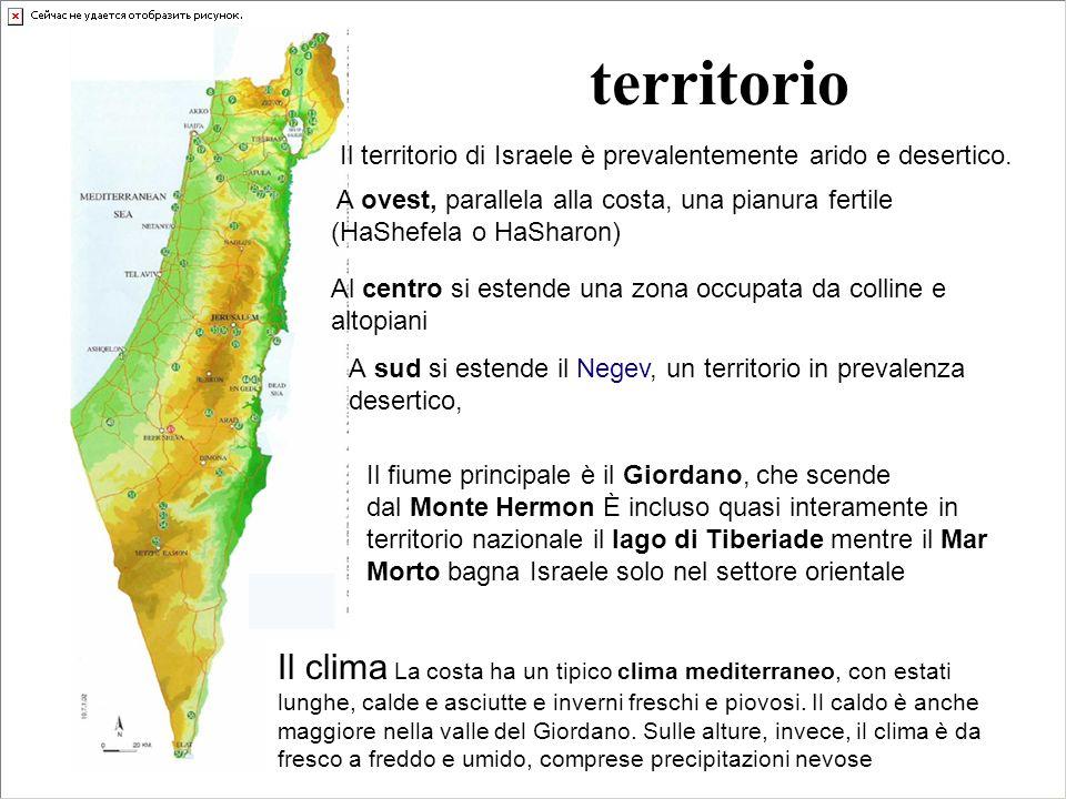 territorio Il territorio di Israele è prevalentemente arido e desertico. A ovest, parallela alla costa, una pianura fertile (HaShefela o HaSharon)