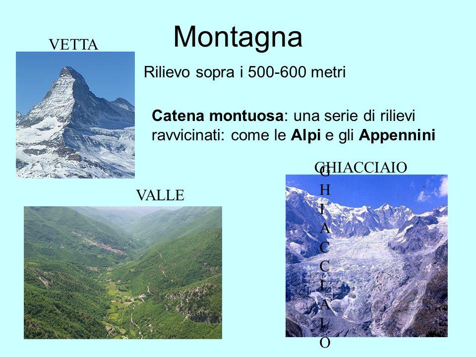 Montagna VETTA Rilievo sopra i 500-600 metri