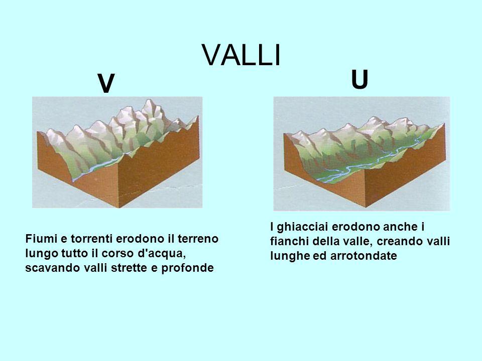 VALLI U. V. I ghiacciai erodono anche i fianchi della valle, creando valli lunghe ed arrotondate.