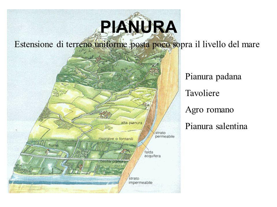 PIANURAEstensione di terreno uniforme posta poco sopra il livello del mare. Pianura padana. Tavoliere.