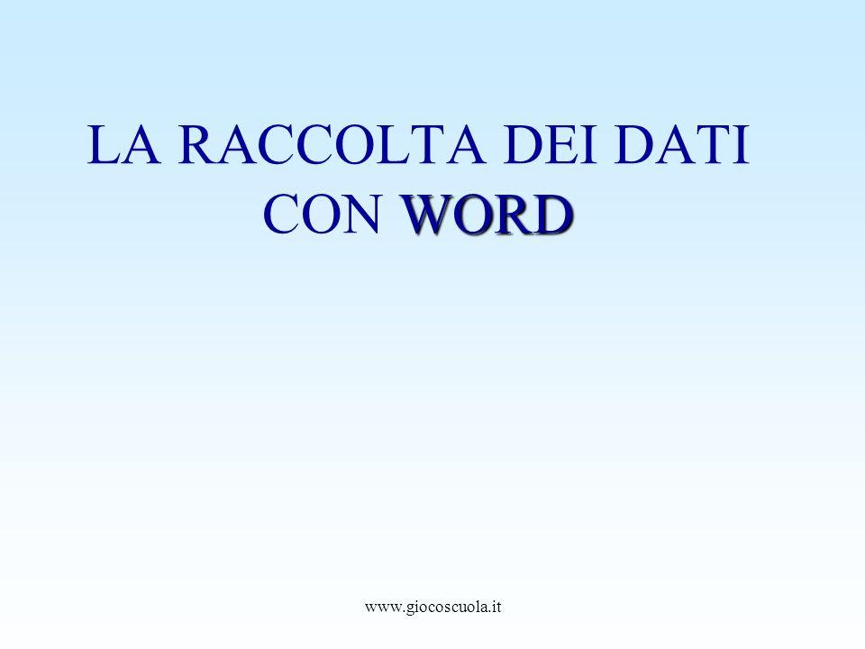 LA RACCOLTA DEI DATI CON WORD