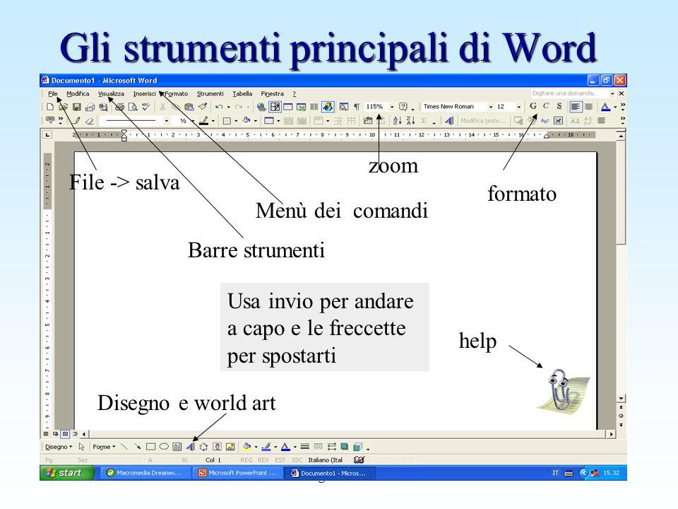 Gli strumenti principali di Word