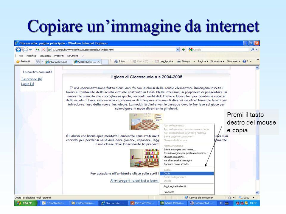 Copiare un'immagine da internet