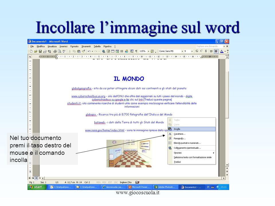 Incollare l'immagine sul word