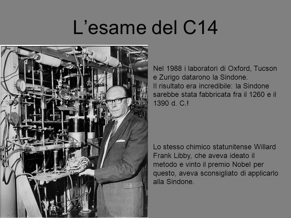 L'esame del C14 Nel 1988 i laboratori di Oxford, Tucson e Zurigo datarono la Sindone.