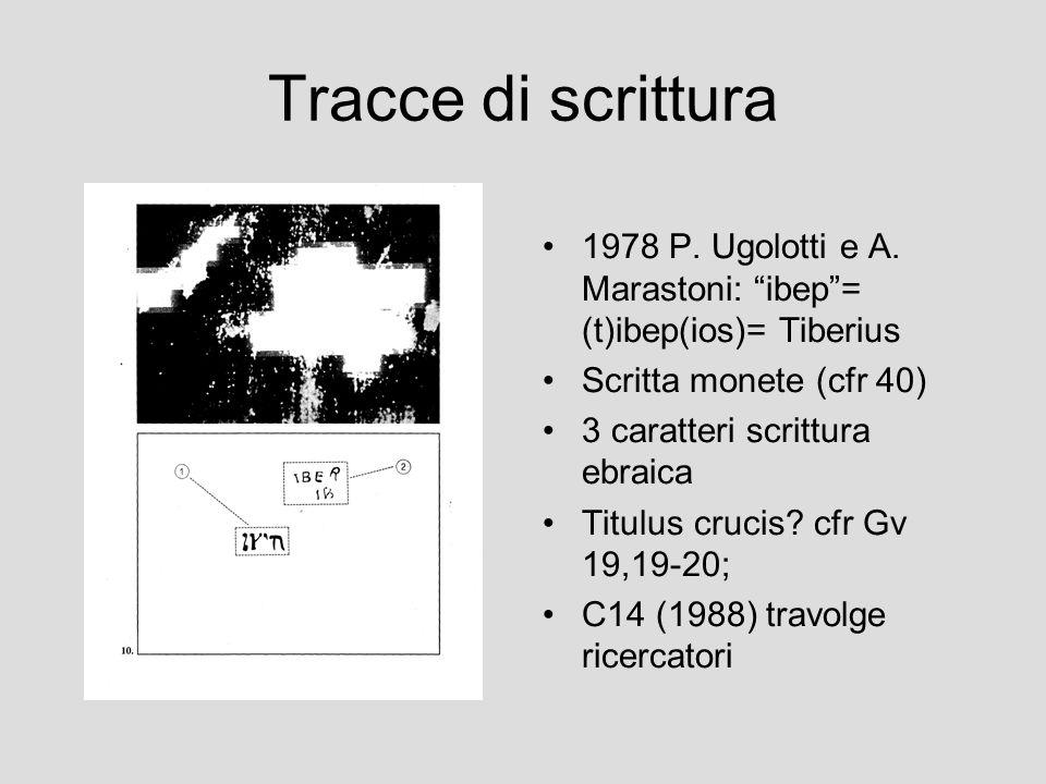 Tracce di scrittura 1978 P. Ugolotti e A. Marastoni: ibep = (t)ibep(ios)= Tiberius. Scritta monete (cfr 40)