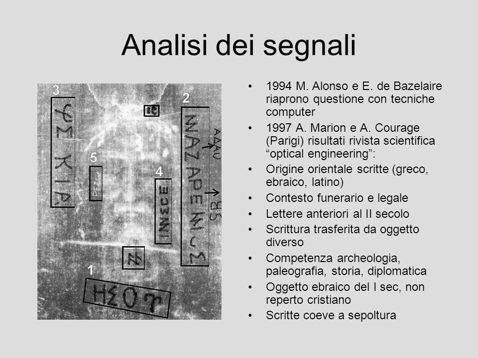 Analisi dei segnali 1994 M. Alonso e E. de Bazelaire riaprono questione con tecniche computer.