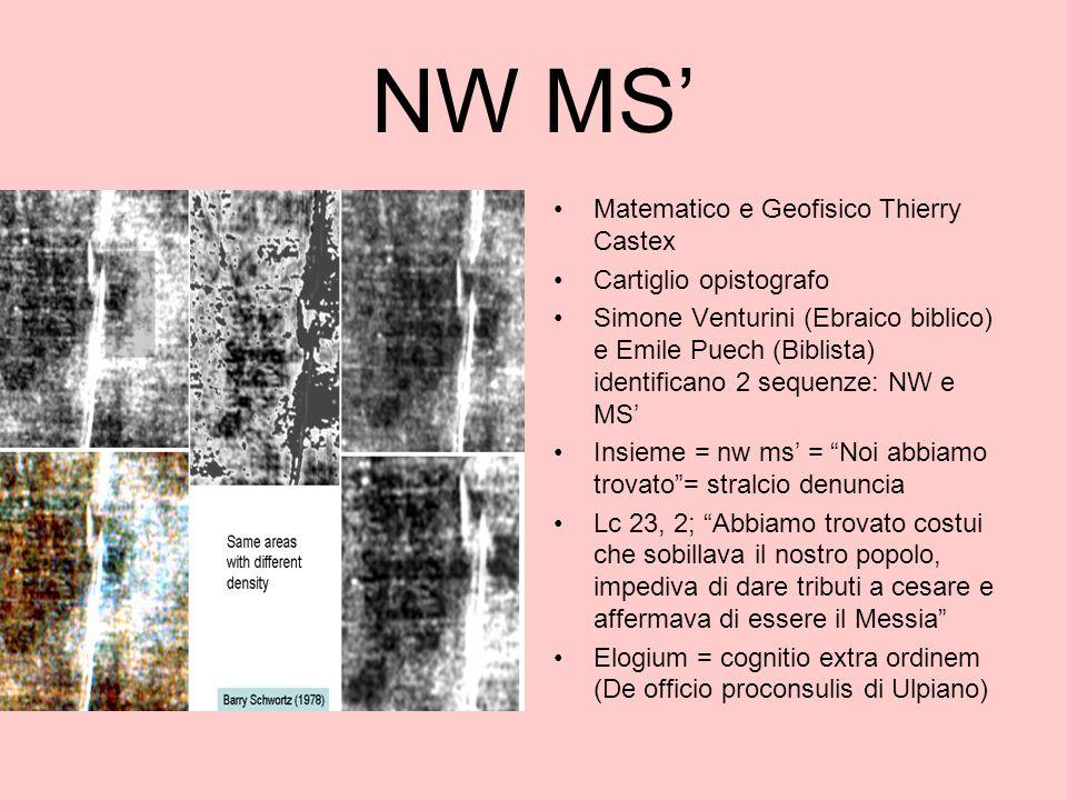 NW MS' Matematico e Geofisico Thierry Castex Cartiglio opistografo
