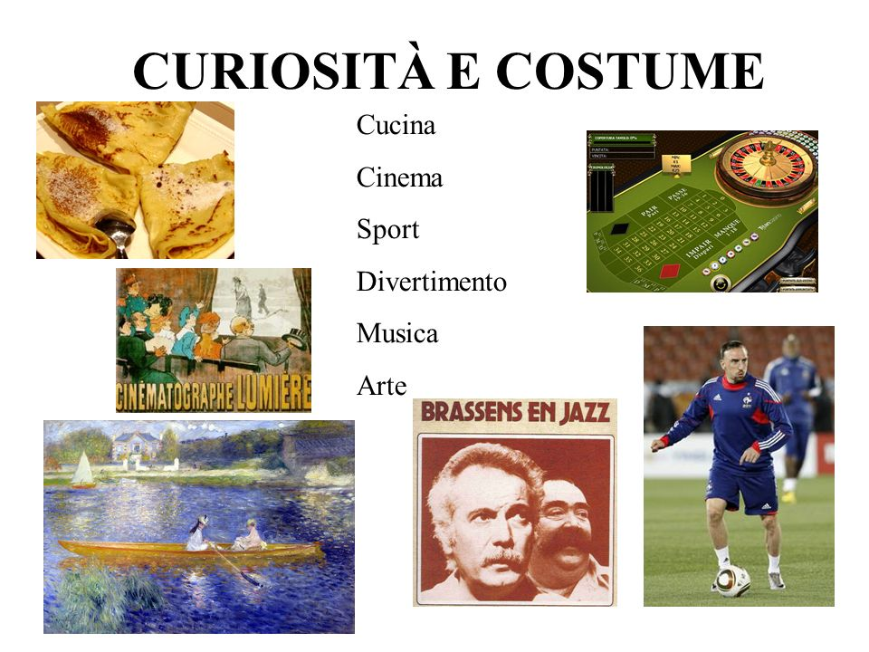 CURIOSITÀ E COSTUME Cucina Cinema Sport Divertimento Musica Arte