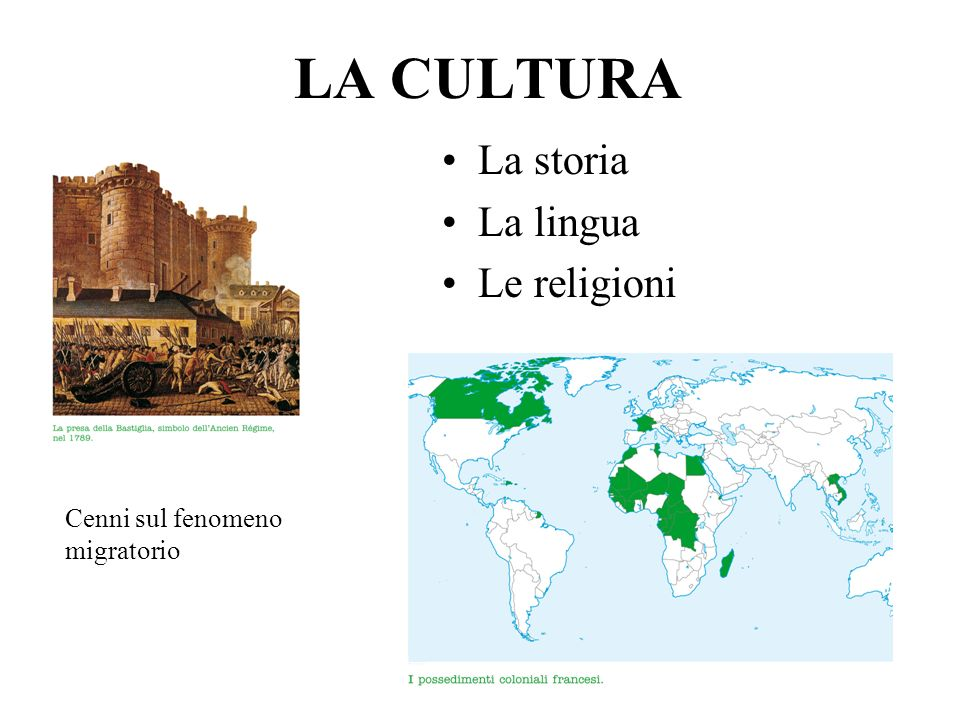 LA CULTURA La storia La lingua Le religioni
