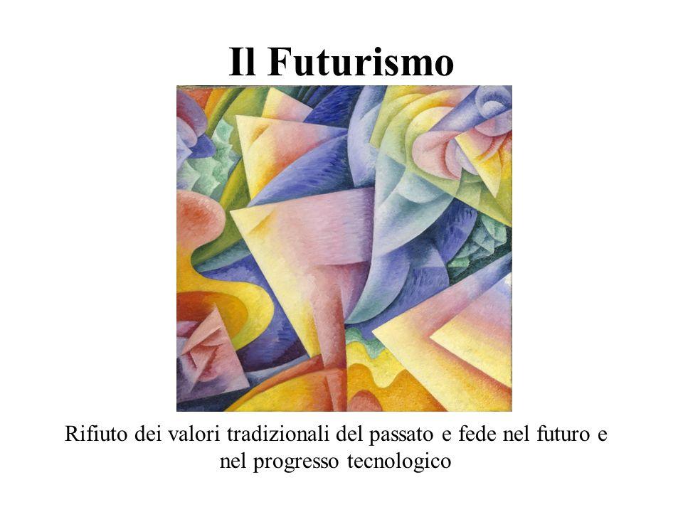 Il Futurismo Rifiuto dei valori tradizionali del passato e fede nel futuro e nel progresso tecnologico.