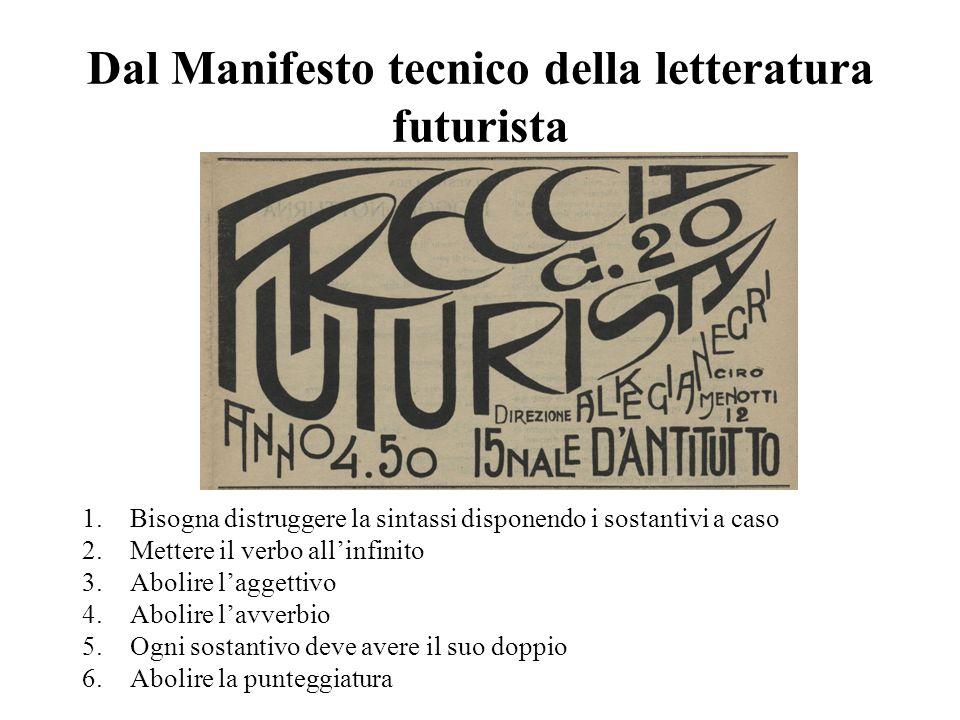Dal Manifesto tecnico della letteratura futurista