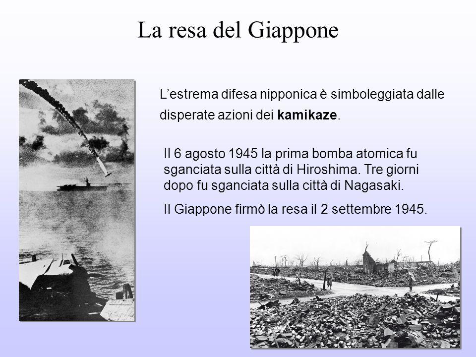 La resa del Giappone L'estrema difesa nipponica è simboleggiata dalle