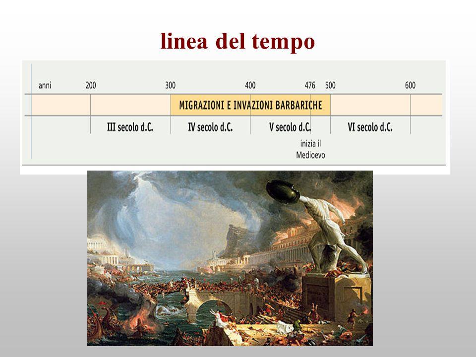 linea del tempo Le migrazioni e le invasioni barbariche interessano duecento anni: il IV e il V secolo d.C.